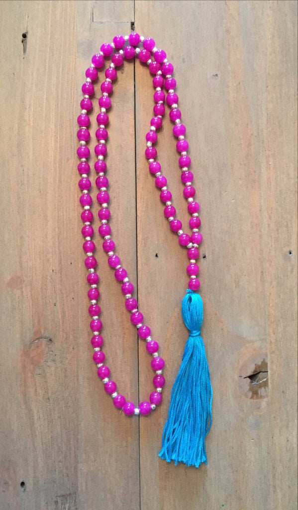 Pink & Turquoise Tassel Necklace