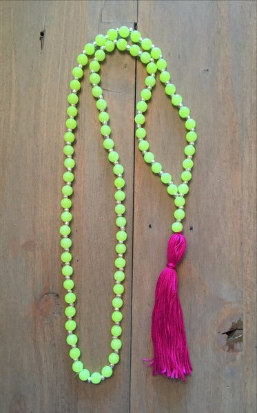 Yellow and Pink Tassel Necklace