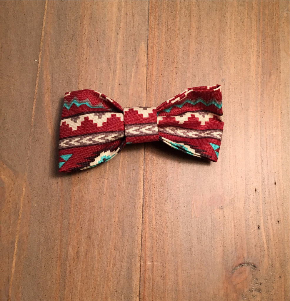 Burgundy Tribal Print Bow