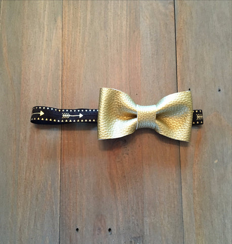 Gold & Black Bow Headband