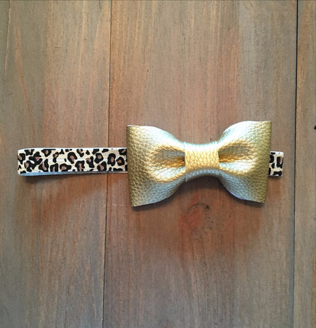 Gold & Leopard Bow Headband