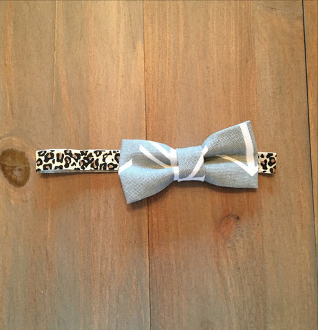Grey & Leopard Bow Headband