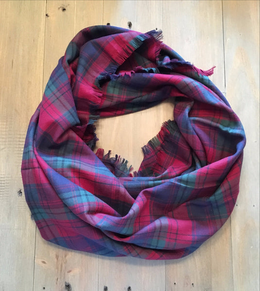 Red, Green, & Navy Plaid Blanket Scarf