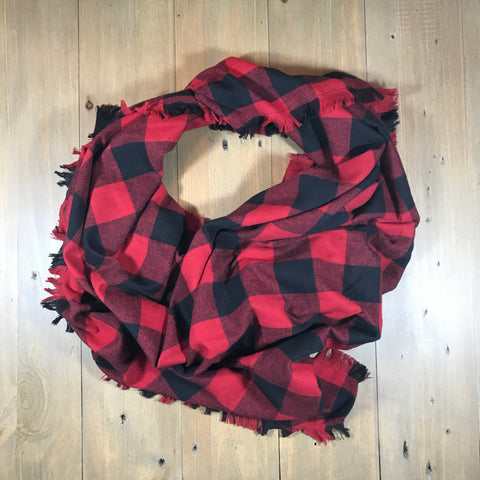 Red & Black Buffalo Plaid Blanket Scarf