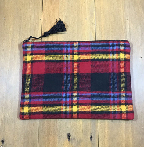 Red Multi Plaid Small Clutch