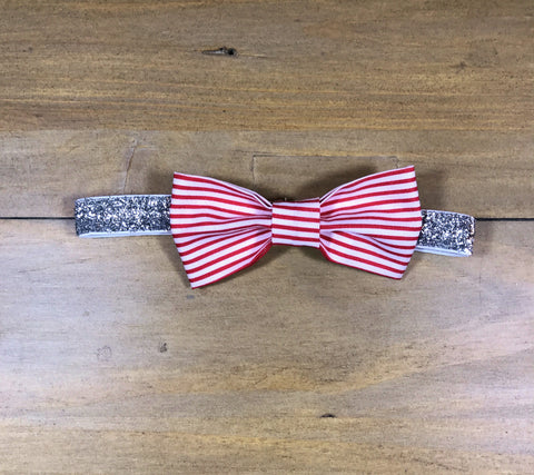 Red Striped & Silver Bow Headband