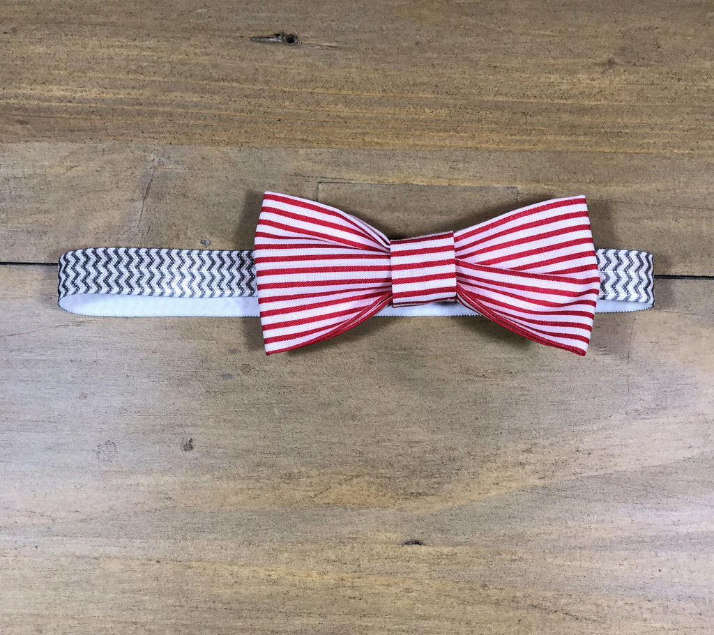 Red Striped & White Bow Headband