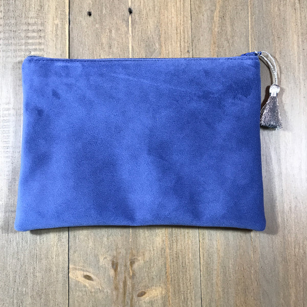 Royal Blue Suede Small Clutch