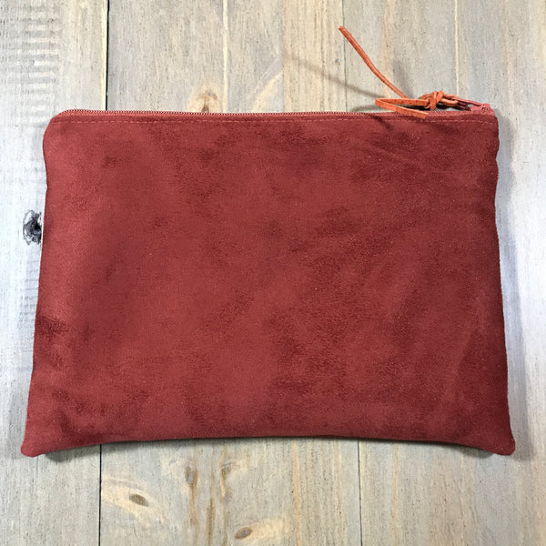Rust Suede Small Clutch