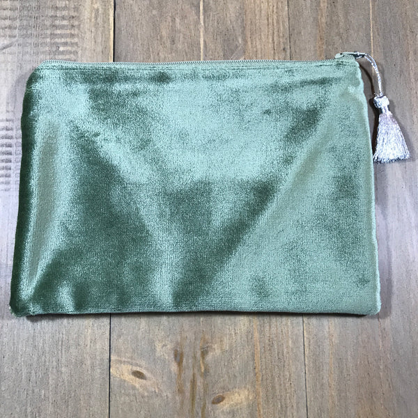 Sage & Silver Velvet Small Clutch