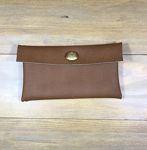 Walnut & Gold Mini Clutch