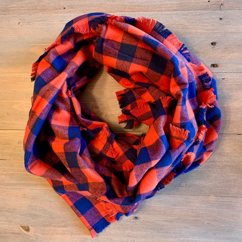 Orange & Navy Buffalo Plaid Blanket Scarf