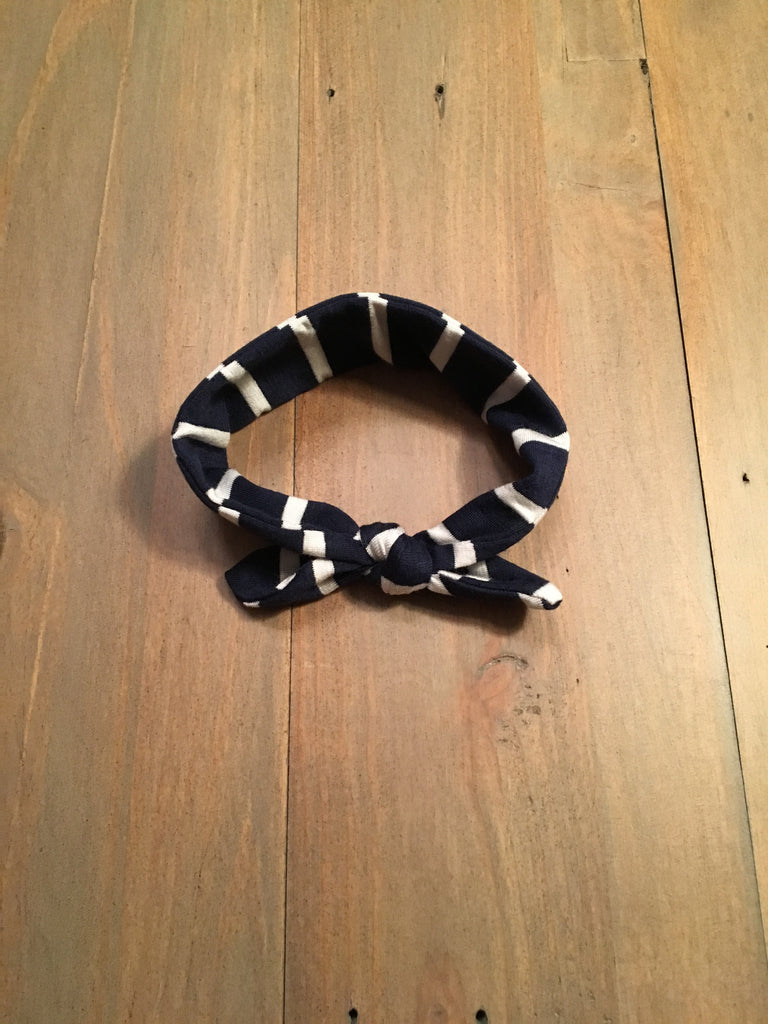 Navy & White Knotted Headband