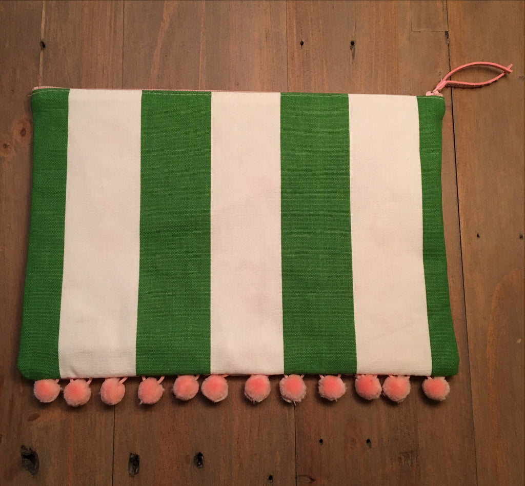 Green & White Striped Clutch