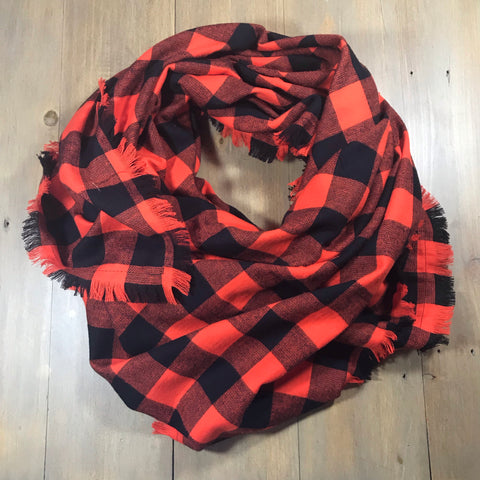 Orange & Black Buffalo Plaid Blanket Scarf
