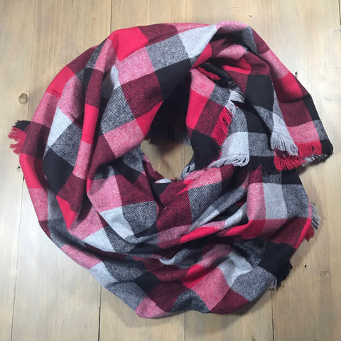 Red, Grey & Black Plaid Blanket Scarf