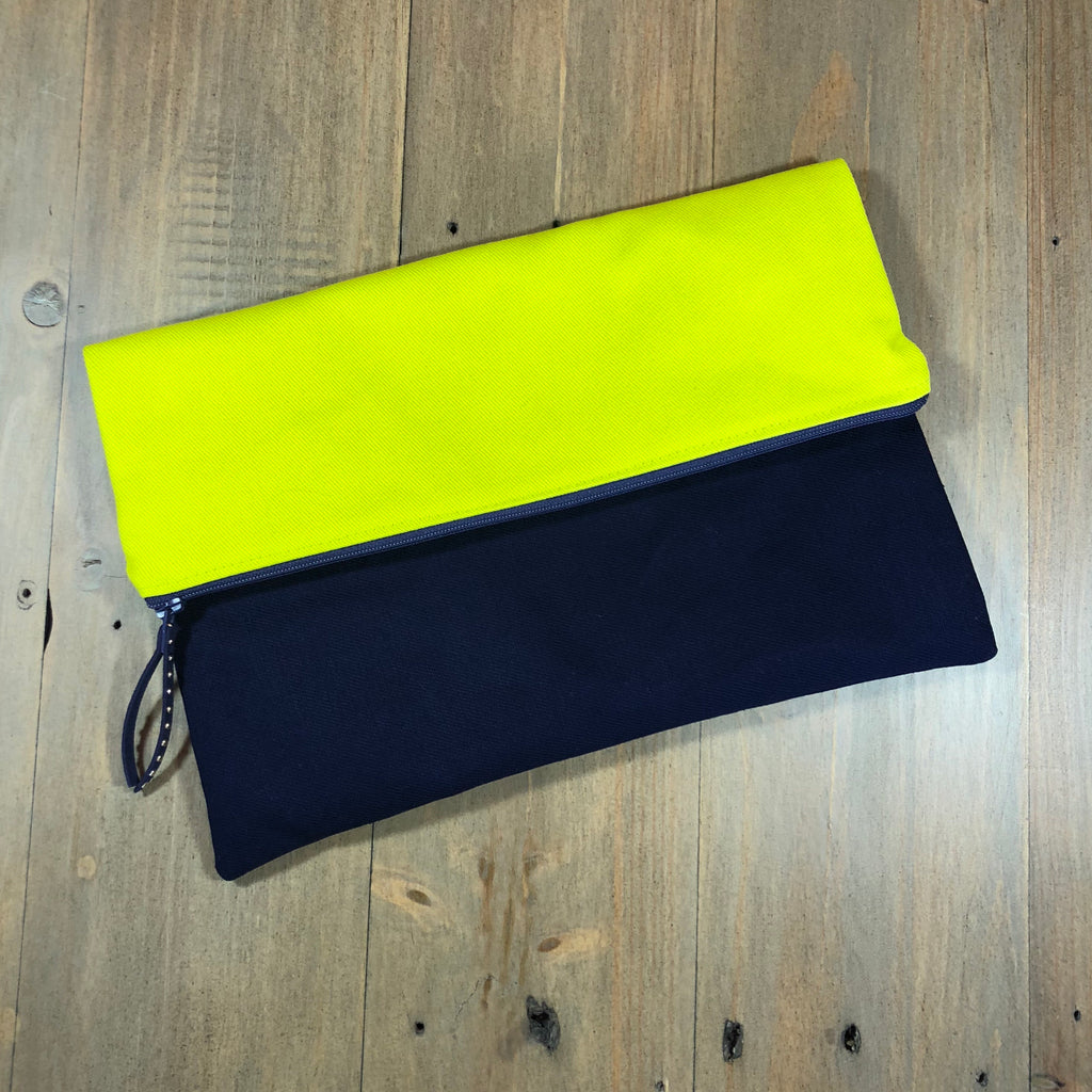 Chartreuse & Navy Fold-Over Clutch