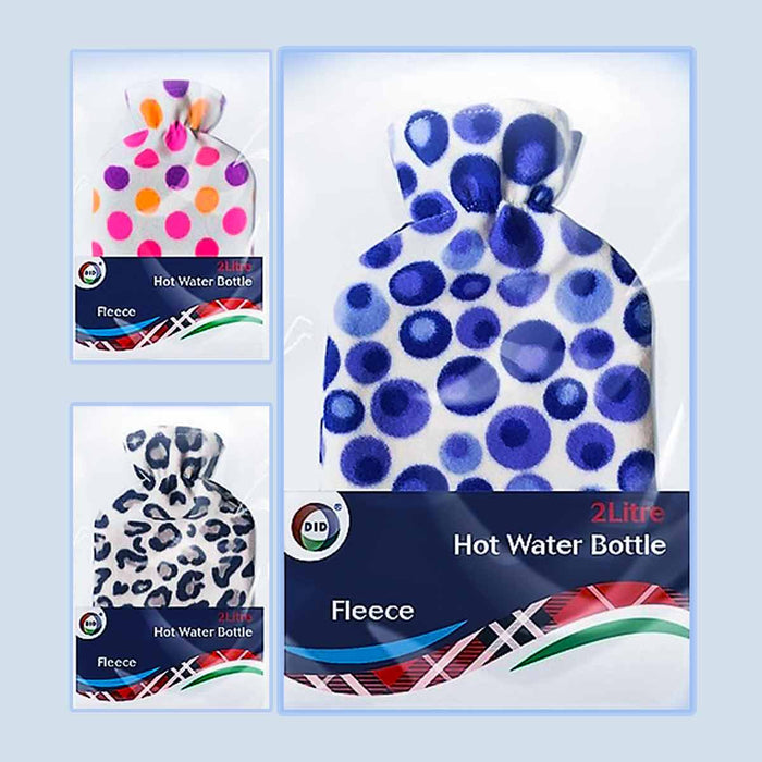 2L Hot Water Bottle Fleece Cover With Trending Prints - Gift Shop UK