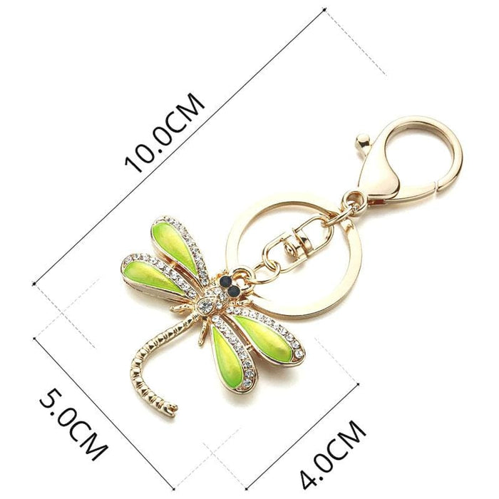 Beautiful Gold & Green Dragon Fly Keyring Ladies Handbag Charm - Gift Shop UK