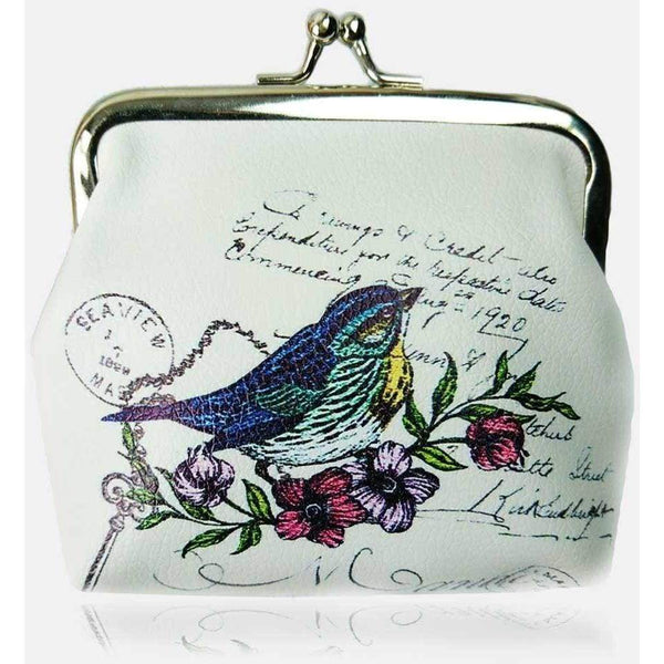 Bird Print Womens Coin Purse Large Size Floral Postage Stamp Design - The Fashion Gift Shop Ltd