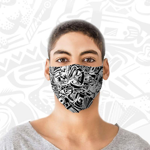 Black and White Graffiti Face Covering - Large - Adults Facemasks - Gift Shop UK