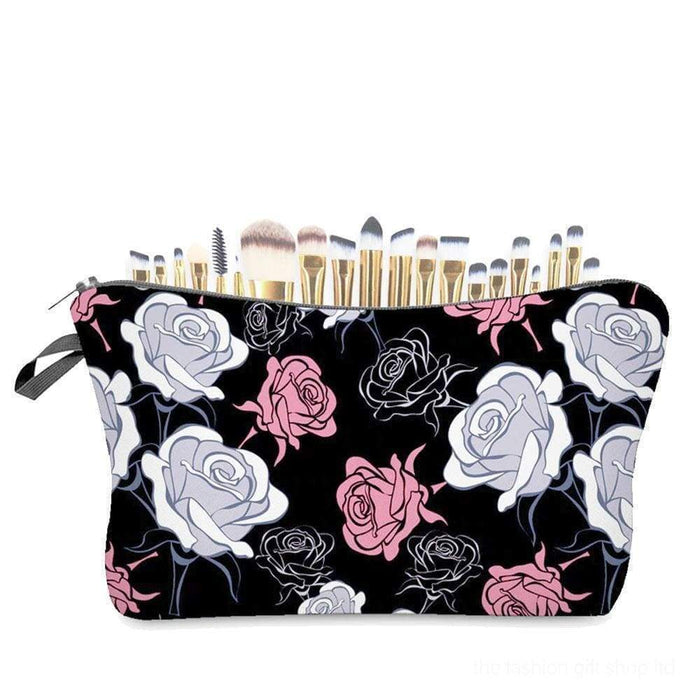 Black Pale Pink Grey Rose Floral Cosmetic Make Up Bags