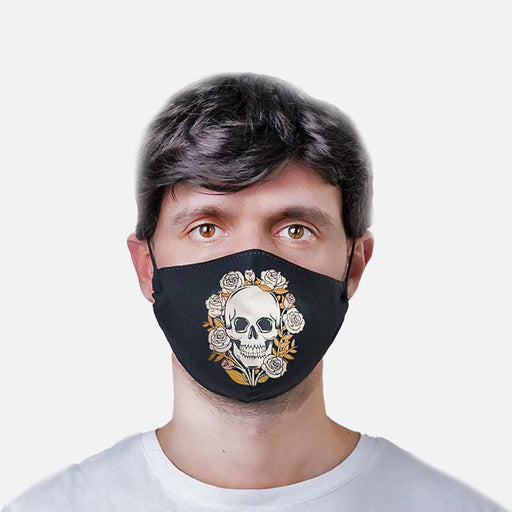 Black Skull Design Face-Mask Double Layer Cotton Face-Coverings - Gift Shop UK