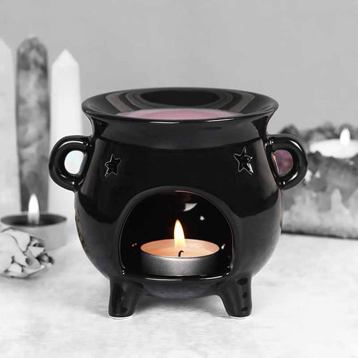 Black Witchcraft Cauldron with Star Design Oil Burner - Gifts for all - The Fashion Gift Shop