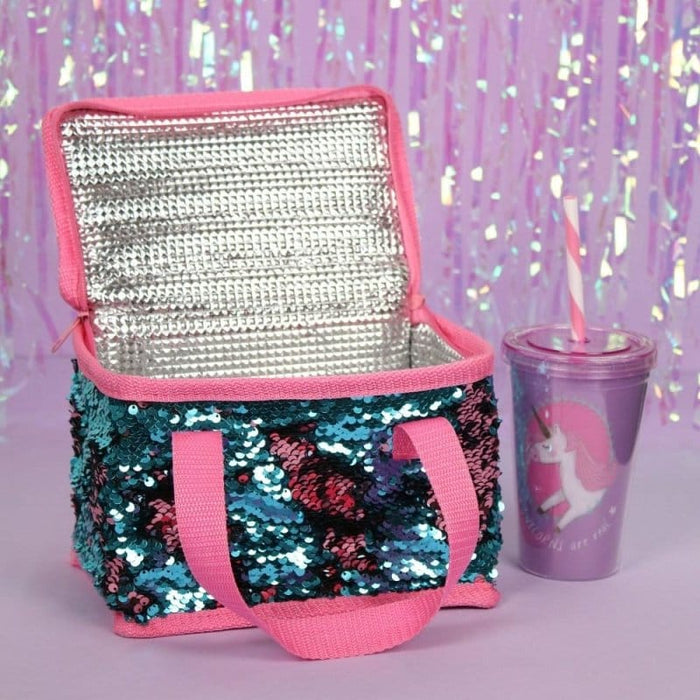Blue & Pink Reversible Sequin Lunch Cool Bags - The Fashion Gift Shop