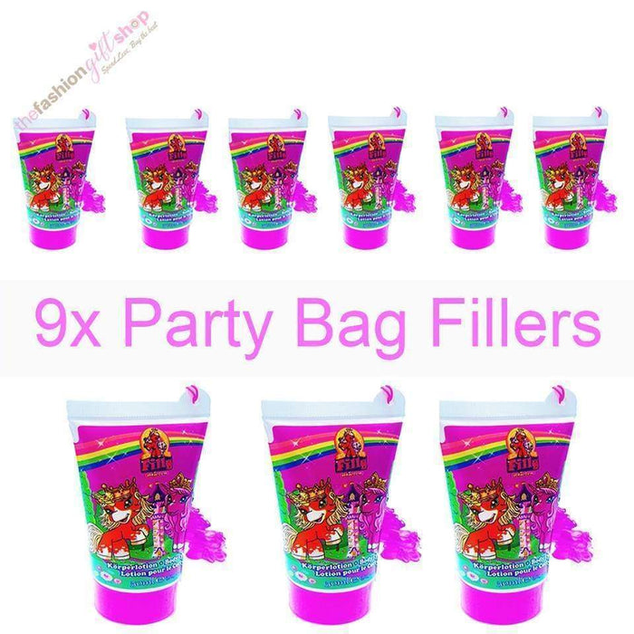 Box 12 Bulk Buy Birthday Party Bag Gifts Raspberry Body Lotion Glitter Unicorn - The Fashion Gift Shop Ltd