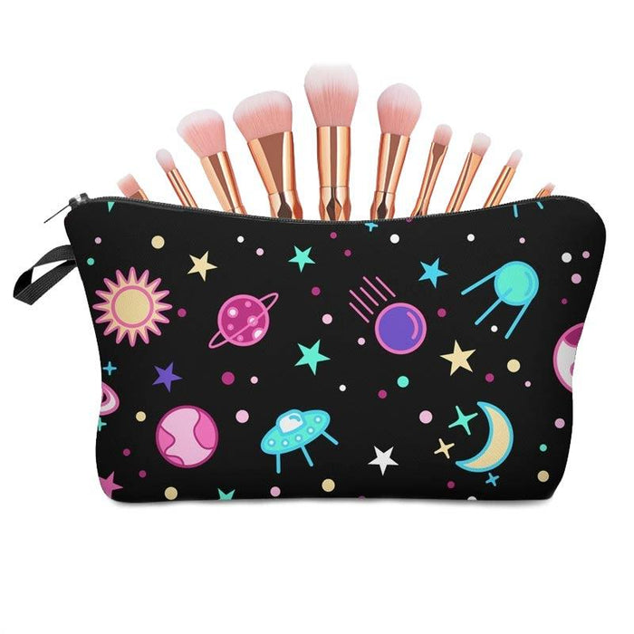 Boy Girls Space Stars and Moons Large Waterproof Pencil Case Cosmetic Bag's - Gift Shop UK