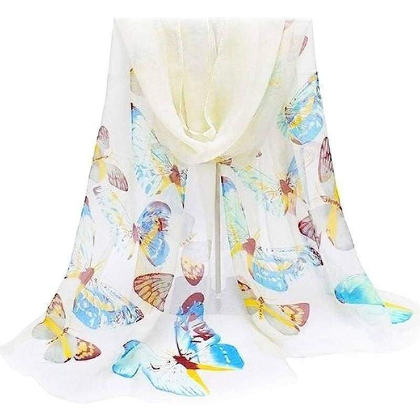 Butterfly Silky Soft Chiffon Scarf White Summer Scarves Wrap Shawl Butterflies - The Fashion Gift Shop Ltd