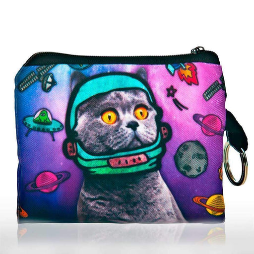 Cat Astronaut Coin Purse Space Print Zipped Pouch Keyring Money Bag - The Fashion Gift Shop Ltd