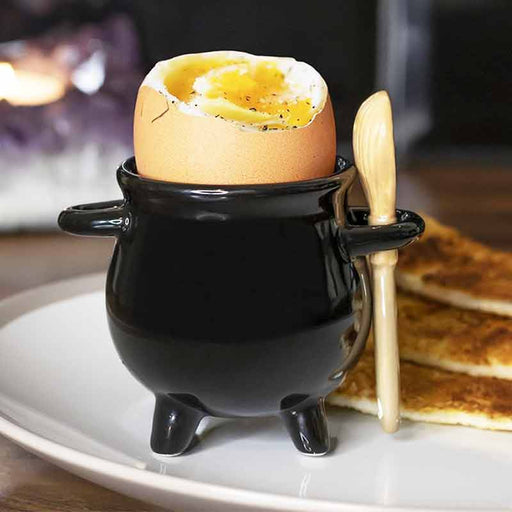 CAULDRON EGG CUP WITH BROOM SPOON - The Fashion Gift Shop