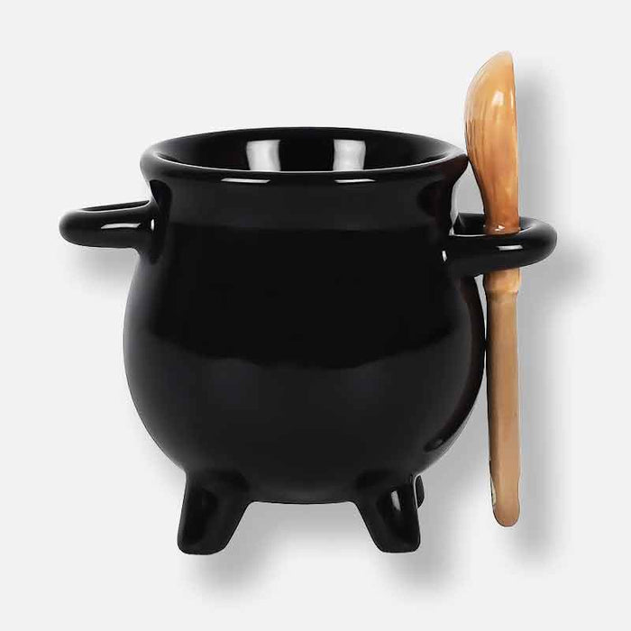 CAULDRON EGG CUP WITH BROOM SPOON - Gift Shop UK