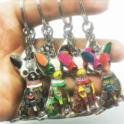 Chihuahua Bag Charm Funky Multi-colour Dog Keyring Metal Key Chain - The Fashion Gift Shop