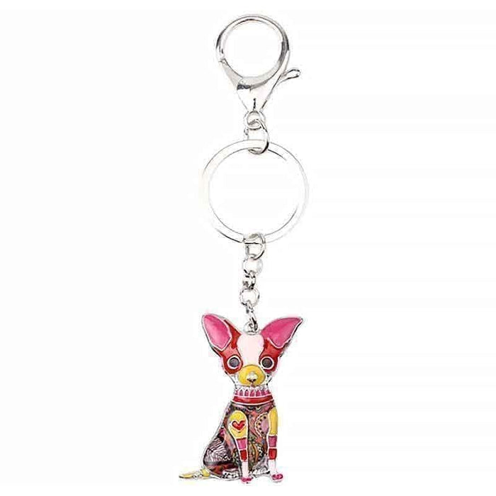 Chihuahua Bag Charm Funky Multi-colour Dog Keyring Metal Key Chain - The Fashion Gift Shop Ltd