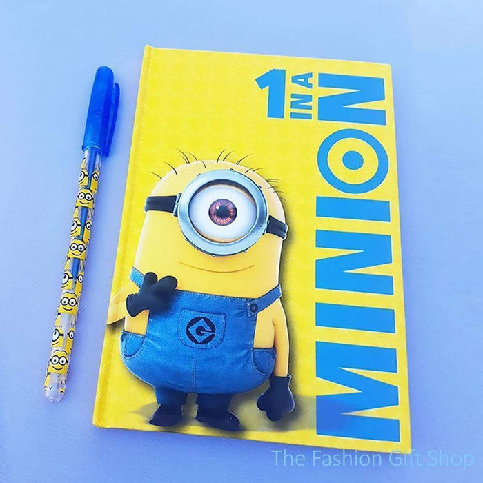 Childrens Minions Notebook And Gel Pen Set Kids Gift Set Party Bag Doodle Books - The Fashion Gift Shop