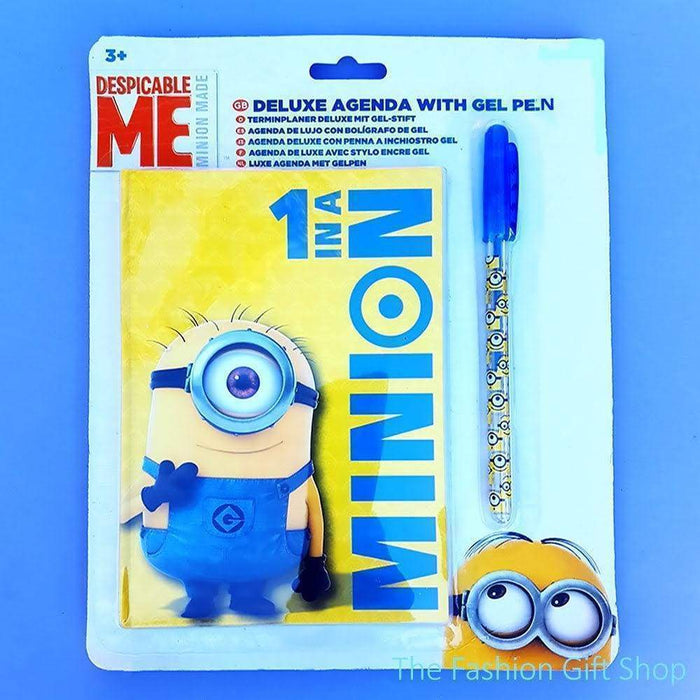 Childrens Minions Notebook And Gel Pen Set Kids Gift Set Party Bag Doodle Books