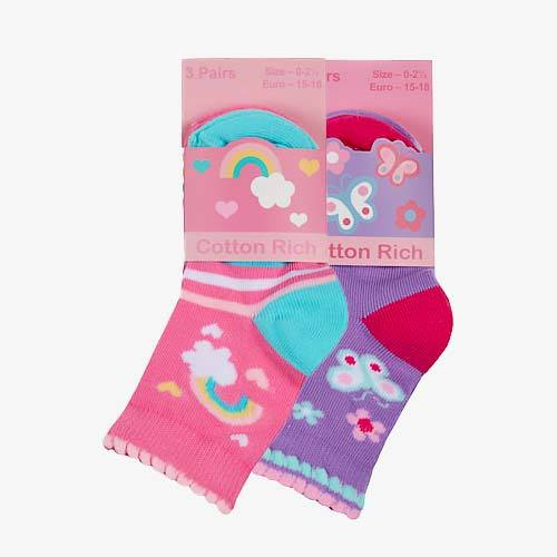 Cotton Rich Baby Socks Pink Butterfly Rainbow 3 Pack - The Fashion Gift Shop