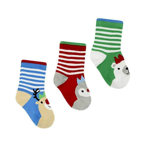 Christmas Baby Socks 3 Pack Festive Toddler Soft Cotton Stocking Filler Gift - The Fashion Gift Shop Ltd
