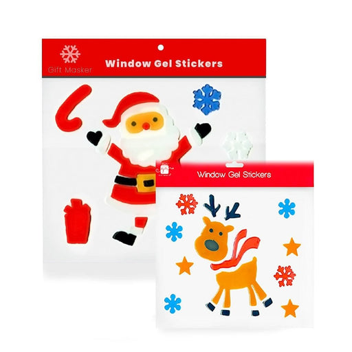 Christmas Window Gel Decorations Santa Reindeer Stickers - Gift Shop UK