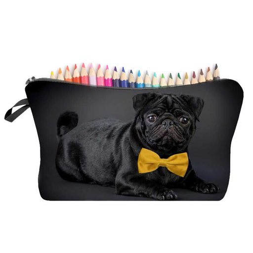 Black Pug Dog Cosmetic Make-Up Brush Holder Large Pencil Case - The Fashion Gift Shop Ltd