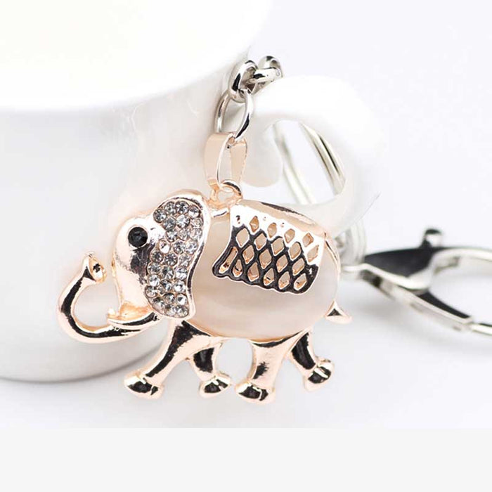 Elephant Keyring Stone Body Gold Colour Keychain or Bag Charm