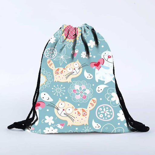 Cute Cat Emoji Style Swim Gym Yoga Bags Back to School Drawstring PE Bags - The Fashion Gift Shop Ltd