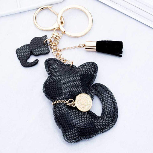 Cute Kitten Cat Patchwork Handbag Charms Padded Cat Tassel Keyring Ladies Gifts - Gift Shop UK