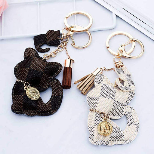 Cute Kitten Cat Patchwork Handbag Charms Padded Cat Tassel Keyring Ladies Gifts - The Fashion Gift Shop Ltd