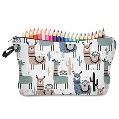 Cute Llama and Cactus Large Pencil Cases Cosmetic Brush Holder Overnight Bags