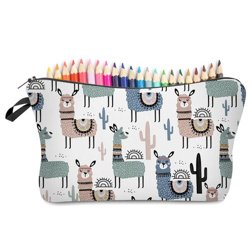 Cute Llama and Cactus Large Pencil Cases Cosmetic Brush Holder Overnight Bags - The Fashion Gift Shop Ltd