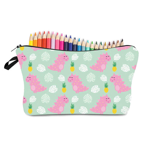 Cute Pink Dinosaurs Pineapple Pencil Cases Brush Holder Bag - The Fashion Gift Shop Ltd